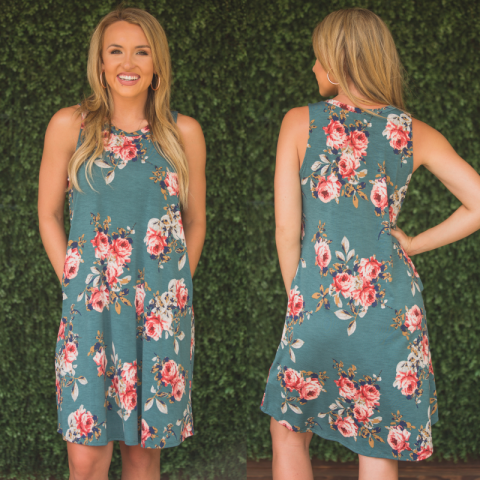 Sage Sleeveless Floral Print Dress