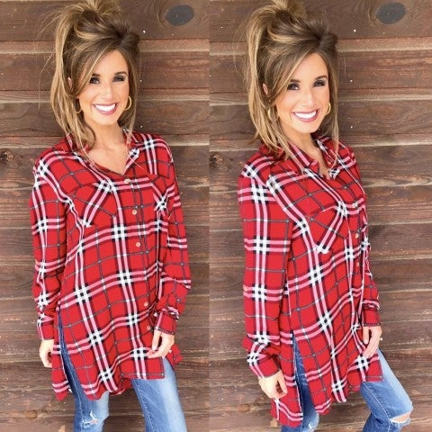 Red Plaid Top With Side Slits
