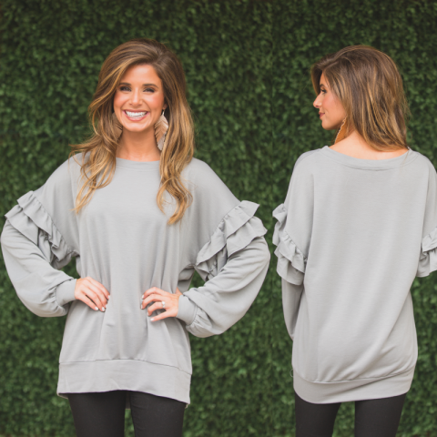 Ruffles You Will Remember Grey Sweatshirt