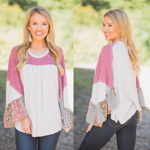 Oatmeal waffle top with printed sleeves
