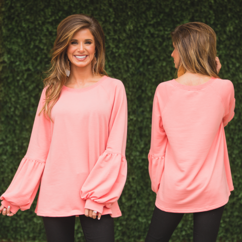 Coral Puff Sleeve Top