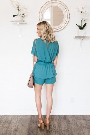 Showered in Teal Romper