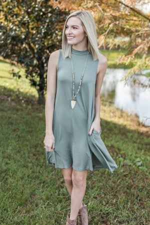 Mock Neck Tee Dress