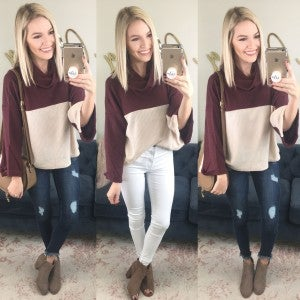 Cowl & Color Blocked Top