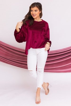 Blushing in Burgundy Top