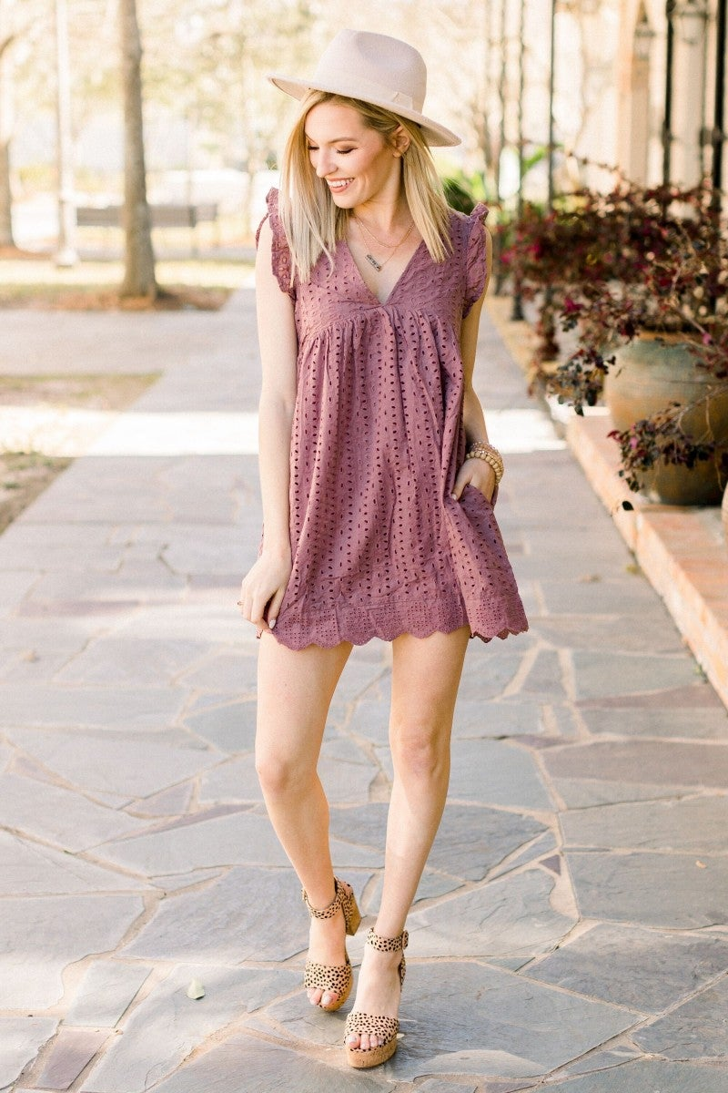Eyelet Love Romper in Plum