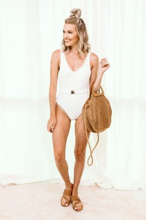 Belt it Out Swimsuit in White