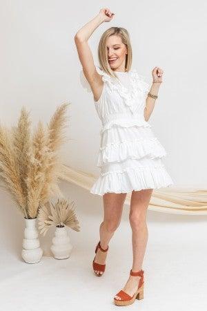 White to Ruffles Dress