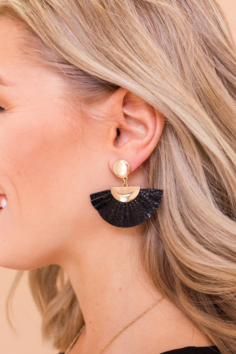 Leather & Gold Earring