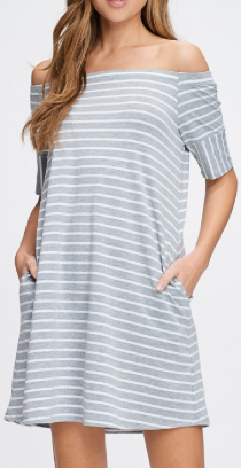 Off the Shoulder Striped Pocket Dress