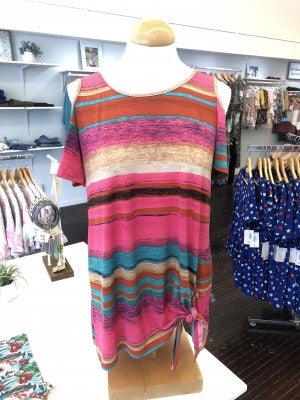 Multi color striped top with tie top