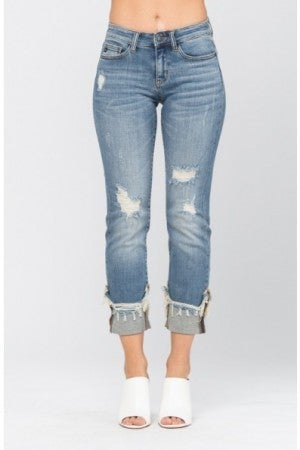 Judy Blue cuffed destroyed denim jeans