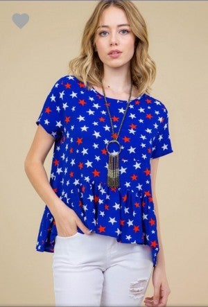 Blue star ruffle top