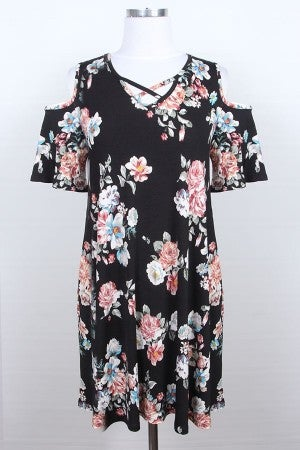 Black floral cold shoulder dress