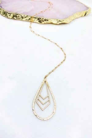 Teardrop and Chevron Charm Necklace