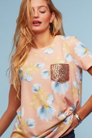 Peach floral glitter pocket top