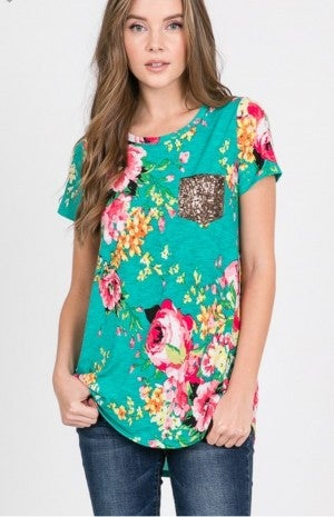 Mint floral top with sequin pocket
