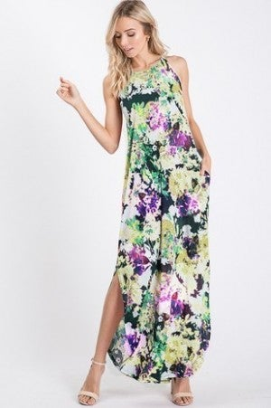 Lime multi floral maxi dress
