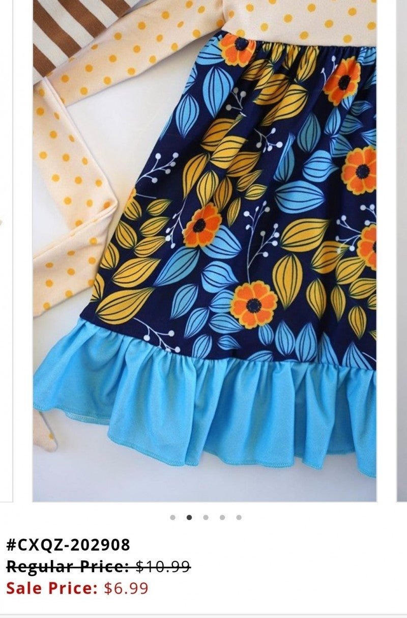 Mustard blue floral Ruffle dress