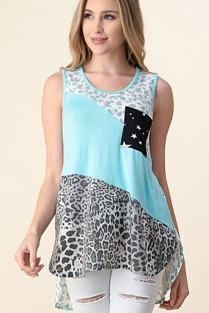 Leopard diagonal color block tank