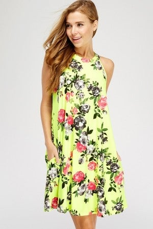 FLORAL HALTER NECK POCKET DRESS