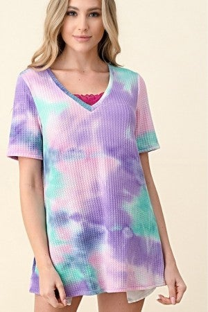 V-NECK TIE DYE THERMAL TOP WITH LACE CHEST DETAIL