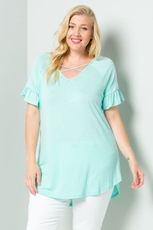 Mint V-Neck top with Criss Cross Detail