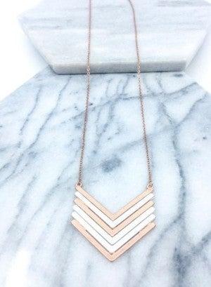 Mixed Metal Chevron Necklace