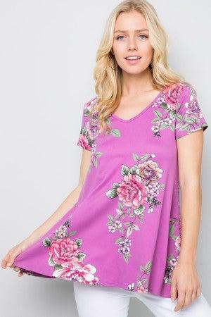 Lilac floral V neck