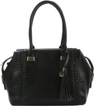 Black Sachel with woven detail