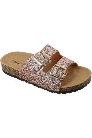 Rose gold glitter sandals