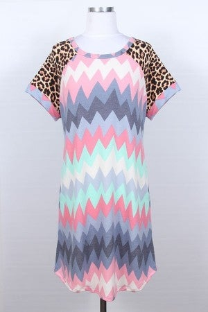 Chevron and animal print T-shirt dress