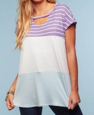 Color block top with Keyhole