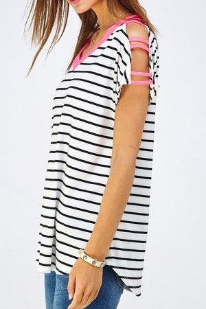 Striped top with sleeve detail