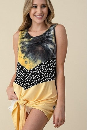 Yellow Tye dye color block tie tank