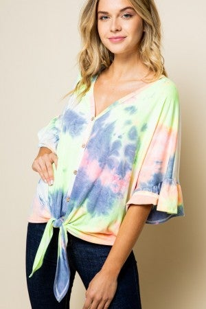 Tye dye button down flutter sleeve top