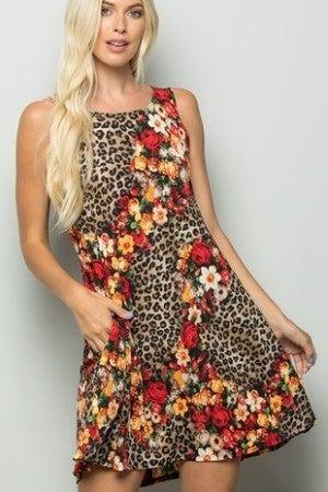 Animal print floral tank dress