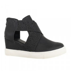 Black Criss cross wedge sneakers