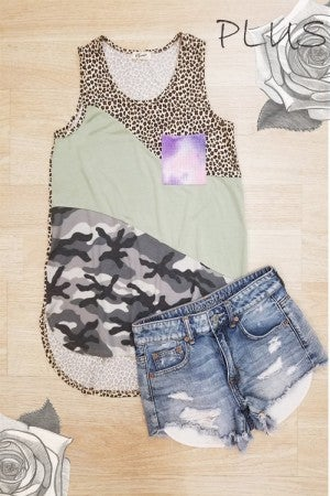 Camo diagonal color block tank