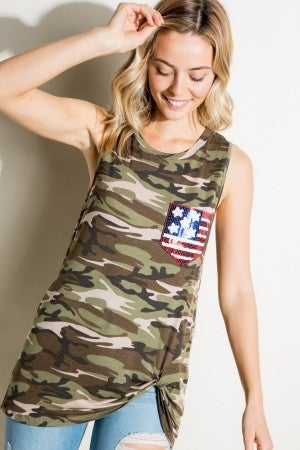 Camo tank with Flag sequin pocket