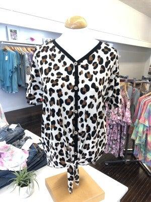 Leopard button down tie top