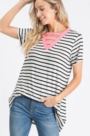 Short sleeve Neon pink and striped top