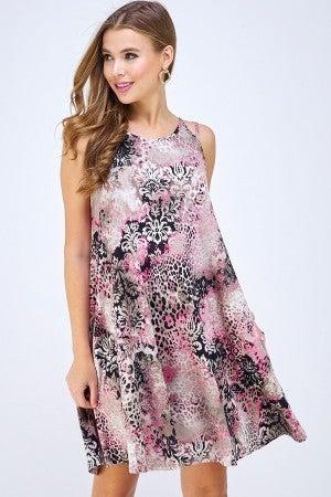 Pink Leopard print tank dress
