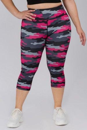 Pink camo capri leggings