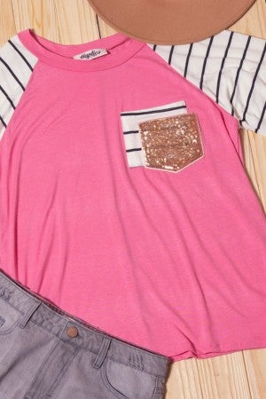 Pink glitter pocket top