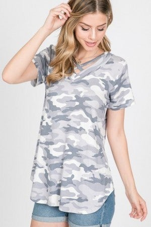 Greyscale camo criss cross top