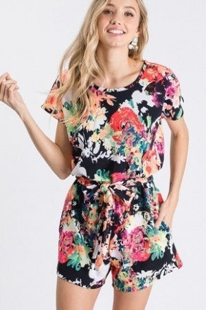 Multi color floral romper with belt