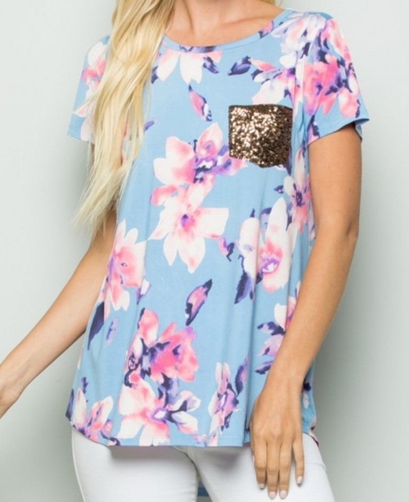 Aqua floral top with glitter pocket