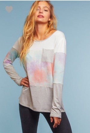 Round neck tie dye color block with pocket