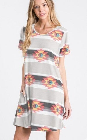 Grey aztec dress